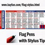 Custom Flag Pens with Universal Capacitive Touchscreen Stylus