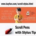 Custom Scroll Stylus, ball pen/stylus/scroll 3 in 1 Combo,