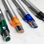 Custom Metal Click Plastic Ball Pens with Silver Barrel and Color Dot on Button